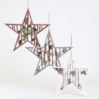 Stern mit Holzästen, diverse Farben