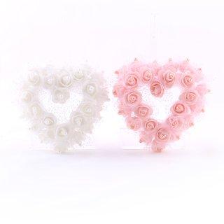 Rosen-Herz, Rosa, Weiß, Schaumstoff, B: 15 cm