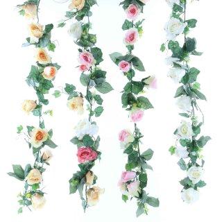 Rosengirlande, diverse Farben, L: 200 cm