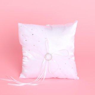 Ringkissen, Weiß, Satin, B: 20 cm