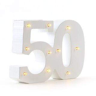 LED Jubiläumszahlen warmweiß