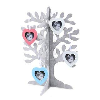 Stammbaum Lebensbaum Fotoständer grau