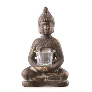 Buddha-Figur mit Teelichthalter braun