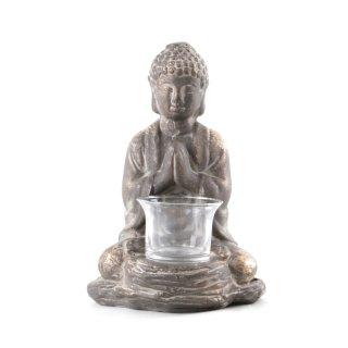 Buddha betend mit Teelichthalter braun