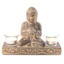 Buddha-Figur mit 2 Teelichthaltern braun/gold