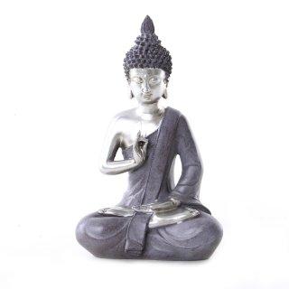 Buddha Figur aus Polystone silber/grau