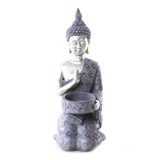 Buddha Figur mit Teelichthalter silber/grau