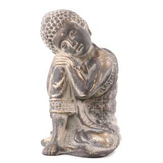 Buddha Figur ruhend aus Polystone braun