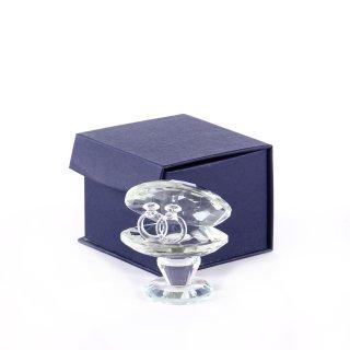 Glasfigur Muschel mit Ringen groß