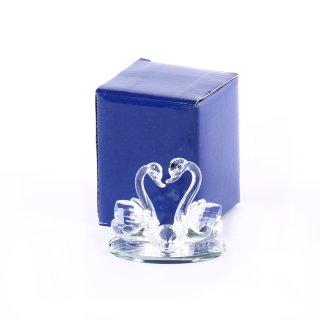 Glasfigur Schwäne mit Diamant klein