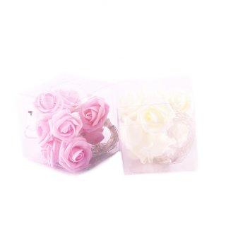Rosen-Lichterkette in weiß oder rosa