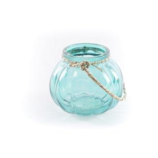 Teelichtglas mit Kordel blau