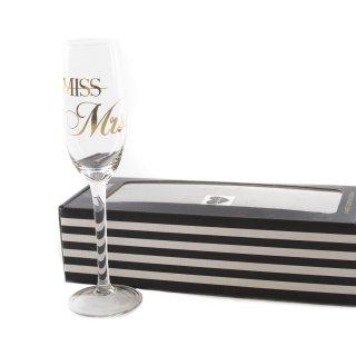 """Sektglas """"Miss -> Mrs."""""""