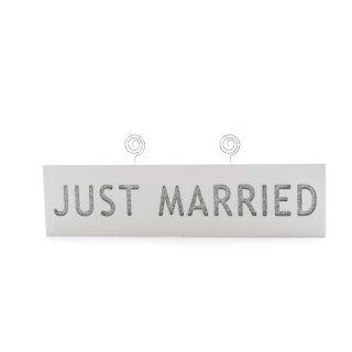 """Schild """"Just Married"""" mit Fotohalter"""