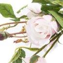 Naturgetreue Rose mit 3 Blüten rosa