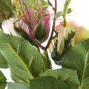 Naturgetreue Rose mit 3 Blüten rosa/grün