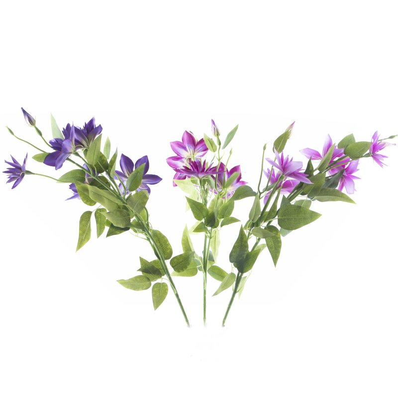 Seidenblumen 10 x Klematis violett Blumenköpfe  Kunstblumen