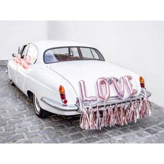 """Hochzeits Auto-Dekoration """"Love"""" rosa"""