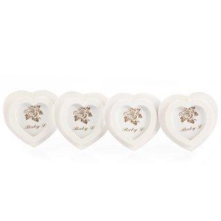 Mini Bilderrahmen in Herzform 8 Stück zum Hängen weiß
