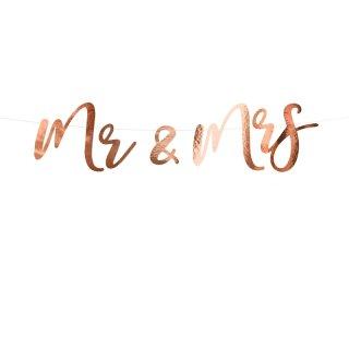 """Schriftzug Banner """"Mr & Mrs"""" rose-gold"""