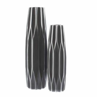 Große Keramik-Vase Waben-Muster matt-grau