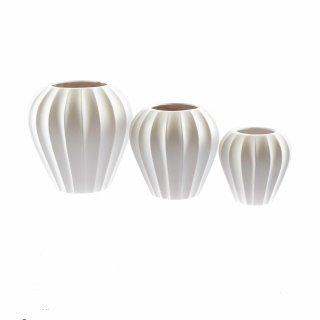 Große Keramik-Vase Ballon-Förmig matt-weiß