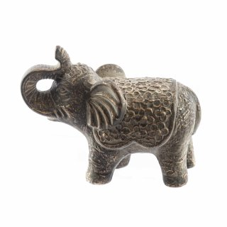 Bronzefarbene Elefanten Figur groß aus Keramik