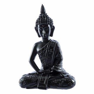 Buddha Figur aus Polystone Schwarz