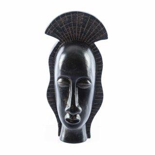 Afrikanischer Deko-Kopf aus Polystone Schwarz