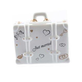 """Spardose vintage Koffer für die Hochzeit mit """"Just Married"""" Aufschrift"""