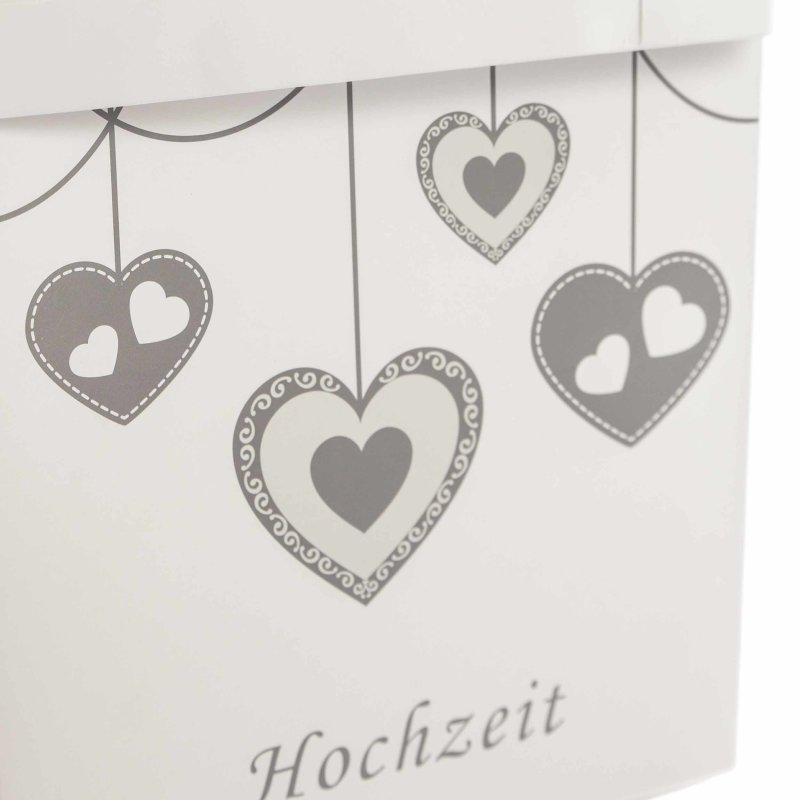 Kartenbox Hochzeit Glas.Karten Box Fur Die Hochzeit In Weiss Grau Mit Herz Motiven
