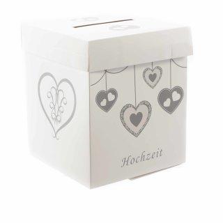 Karten-Box für die Hochzeit in weiß grau mit Herz-Motiven