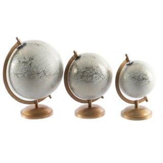 Moderner Globus mit Metall-Ständer in weiß - gold