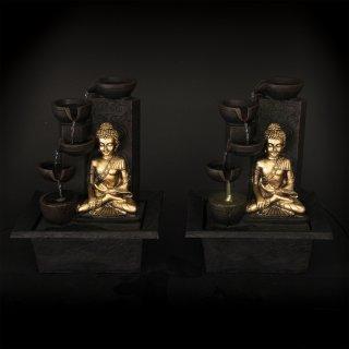 Eleganter Buddha Brunnen in schwarz gold, mit verschiedenen Funktionen