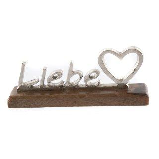 """Holz Aufsteller mit silber Schriftzug """"Liebe"""""""
