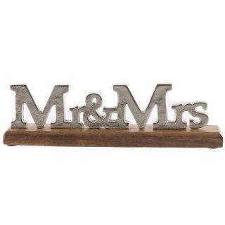 """Holz Aufsteller mit silber Schriftzug """"Mr&Mrs"""""""