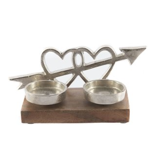 """Holz Aufsteller """"Amore"""" mit zwei Teelichthaltern"""