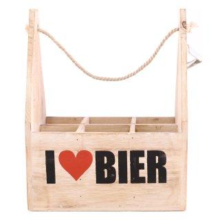 """Flaschen-Träger aus Holz """"I love Bier"""" mit Flaschen-Öffner"""