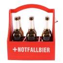 """Holz Flaschen Halter mit Motiv """"Notfall Bier"""" rot"""