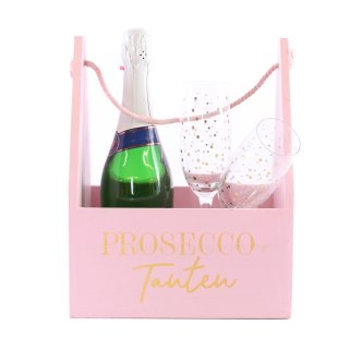 Holz Tasche in rosa Prosecco Tanten Flaschen-Träger im used-look