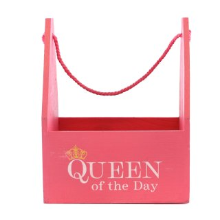 """Holz Tasche in pink """"Queen of the day"""" Flaschen-Träger im used-look"""