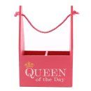 Kleine Holz Tasche in pink Queen of the day...