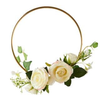 Deko-Blumenring in gold / weiss mit Efeu
