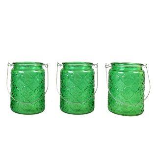 Große Windlichter mit Halterung im 3er Set grün