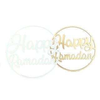 Holz Schild Happy Ramadan Blumen-Ring in zwei verschiedenen Farben rund