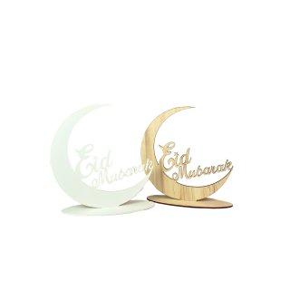 Holz Schild Mond EID MUBARAK in zwei verschiedenen Farben