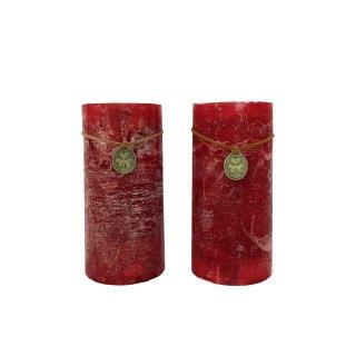 Stumpenkerzen in rot im 2er Set groß
