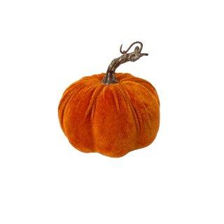 Herbstlicher Deko Kürbis aus Samt 13 cm