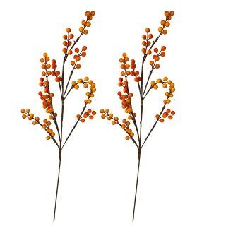 Dekorative Beerenzweige im 2er Set groß orange