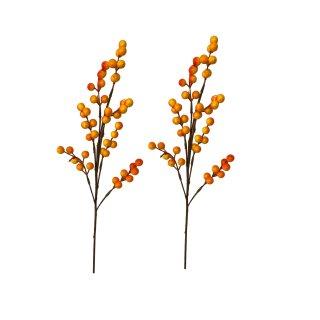 Dekorative Beerenzweige im 2er Set klein orange